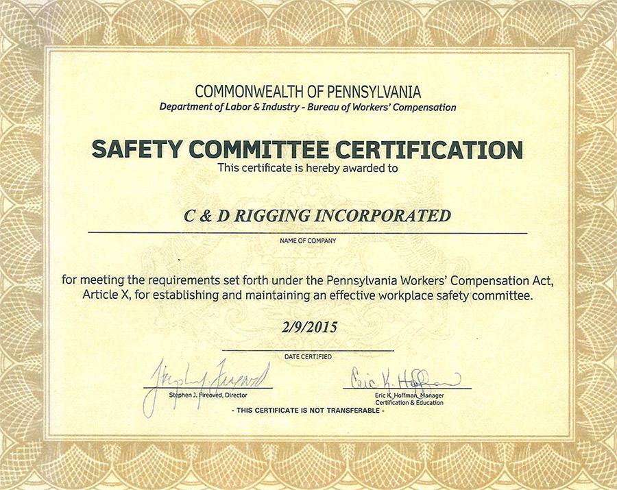 Safety Committee Certificate- Grantville, PA- C&D Rigging