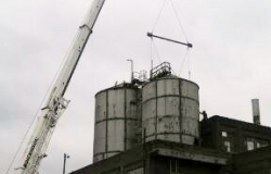 Silo Construction Utilizing Laser Alignment Picture - C & D Rigging, Inc.